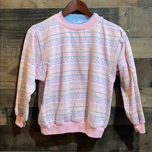 ❤️3/$20 Vtg Girls Pastel Pink Striped Sweatshirt